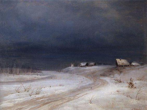 Как нарисовать зимний пейзаж масляными красками