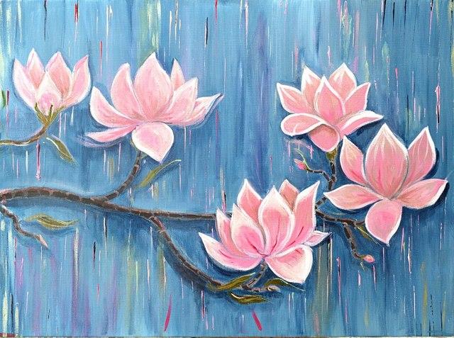 Декоративное панно своими руками: ветка цветущей магнолии