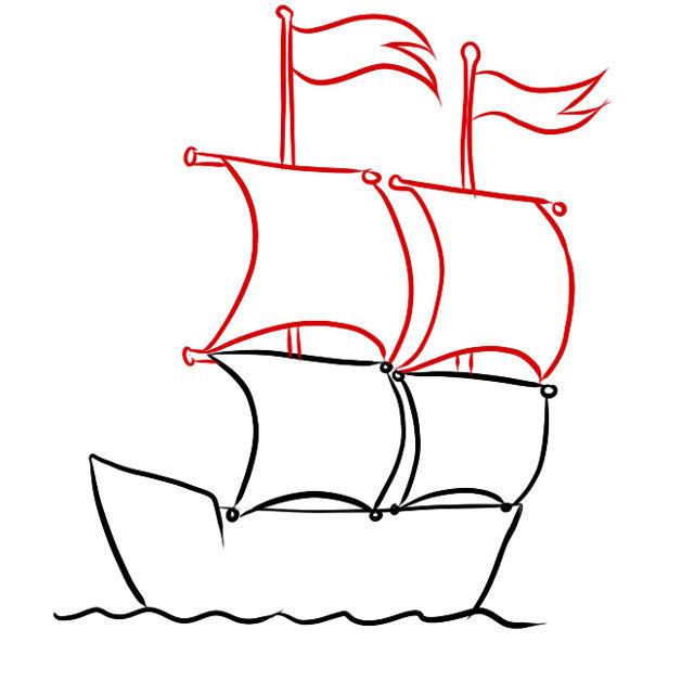 Как нарисовать акрилом: корабль с парусами парусник парус