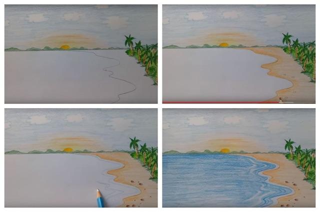 Как нарисовать море: карандашом, фломастером или красками, поэтапная инструкция для начинающих